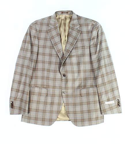 (Peter Millar Mens 44L Two Button Wool Plaid Blazer Brown)