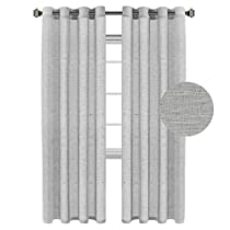 H.Versailtex Natural Linen and Poly Mixed Soft Semi Sheer Curtain Panels for Living Room / Nickel Grommet Window Treatments Drapes ( 52W x 84L,Set of 2,Taupe)