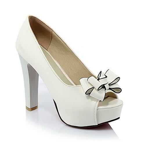 BalaMasa Girls High-Heels Peep-Toe Patent Leather Sandals White atK4Sh