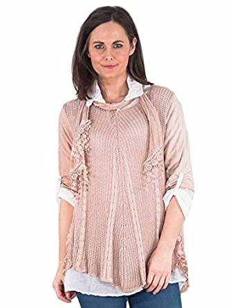 f5ee5b463a490f Love My Fashions®Womens Blouse Ladies Casual Long Sleeve Loose Blouse 3Pcs  Mesh Net Sequins Floral Side Panel Scarf Layered Style Jumper Tunic Round  Neck ...