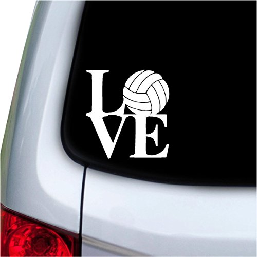 LOVE volleyball Text Vinyl Car Sticker Symbol Silhouette Keypad Track Pad Decal Laptop Skin Ipad Macbook Window Truck Motorcycle
