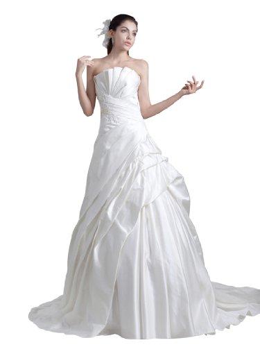 Topwedding Strapless Satin Princess Wedding Dress with Pleated Bodice, White, 26W