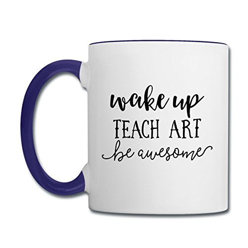 Art Awesome (Spreadshirt Wake Up Teach Art Be Awesome Contrast Coffee Mug, white/cobalt blue)