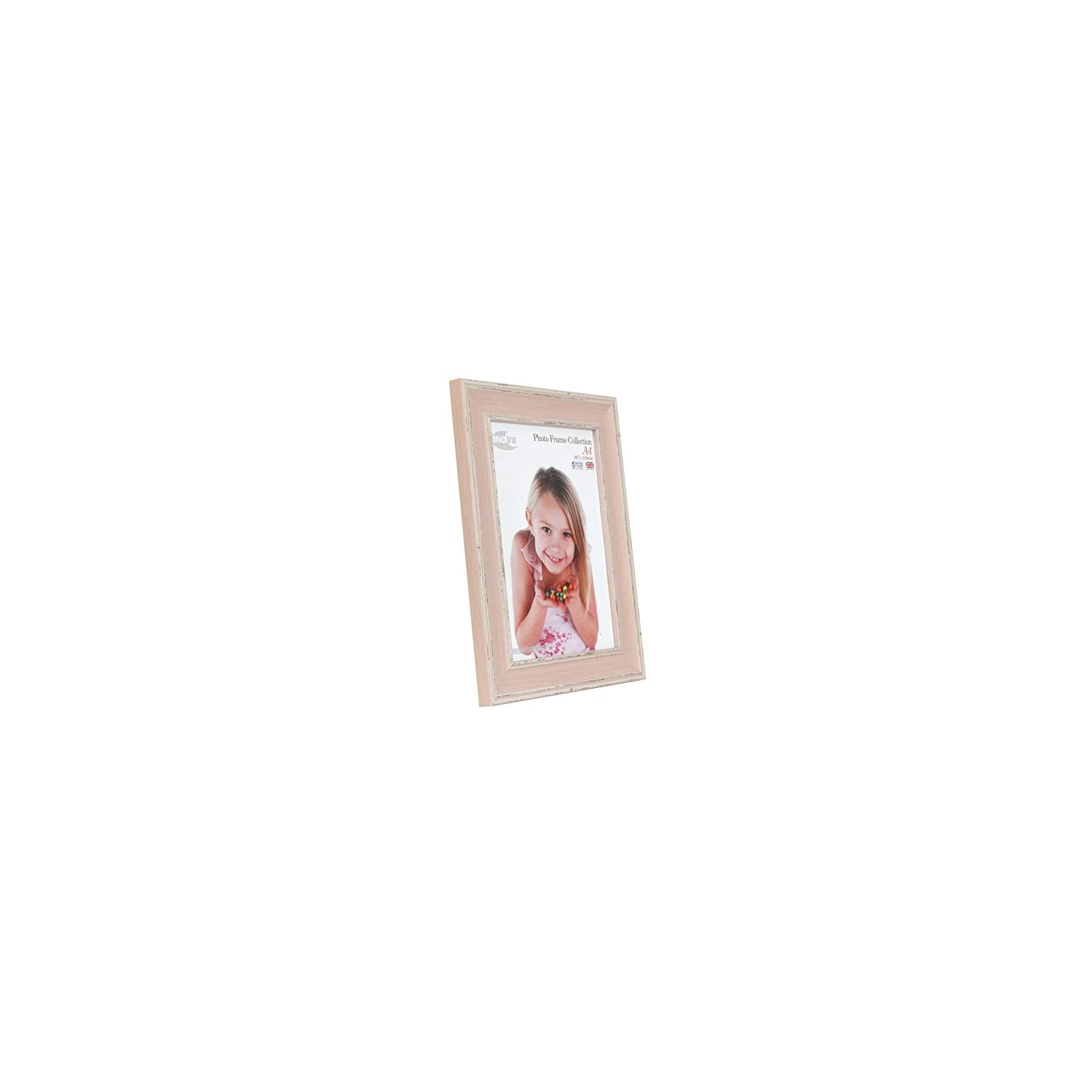 Inov8 A4 Large Traditional Picture/Photo Frame, Pack Of 4, Washed Pink