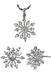 Sparkling Cubic Zirconia Snowflake Silver Pendant Necklace and Stud Earrings Set