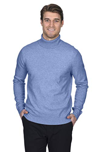 (State Fusio Men's Cashmere Wool Turtleneck Long Sleeve Pullover Sweater Premium Quality Angel Blue)