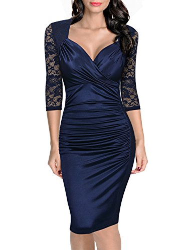 Nylon Lace Ruffle (Miusol Women's Deep-V Neck Ruffles Floral Lace Fitted Retro Evening Pencil Dress, Navy Blue,2XL)