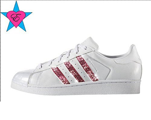 Pink Crystal Glitter White ORIGINALS SUPERSTAR SHOES by Eshays