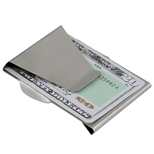 APG Stainless Steel Slim Clip Double Sided Wallet Money Clip and Credit Card Holder ()