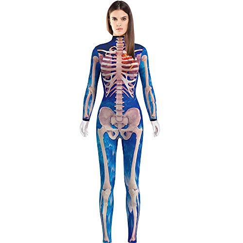 BOMBAX Women Skeleton Halloween Costume Bodysuit Cop Cosplay Jumpsuits and Rompers Blue