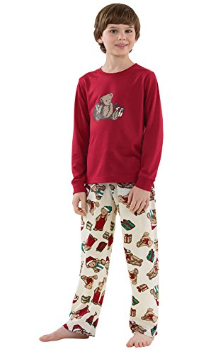 PajamaGram Vermont Teddy Bear Christmas Big Boys' Pajama Set, Red, Youth (Teddy Bear Pjs)