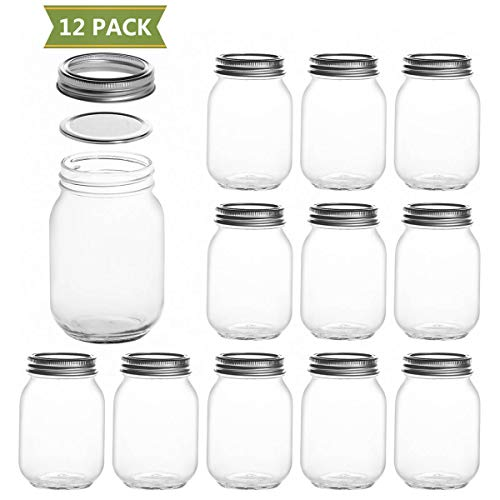 SXUDA 16 oz Mason Jars with Silver Lids and Bands Regular Mouth Canning Jars for Jam, Honey, Jelly, Wedding Favors, Shower Favors, Baby Foods, DIY Magnetic Spice Jars, 12 PACK ()