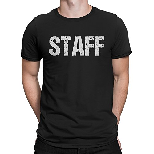 Staff T-Shirt Double Sided White Print Event Concert Party Festival Tee.., Black, Small