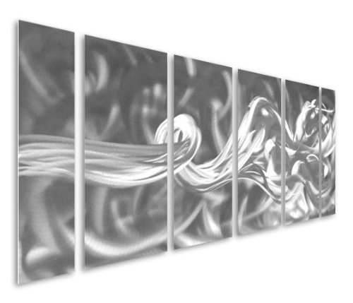 Handcrafted Resolute Reckoning - Large Silver Abstract Metal Wall Art