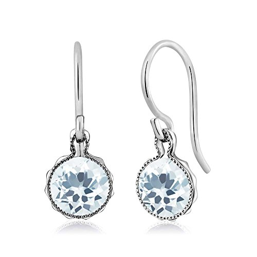 1.50 Ct Round Sky Blue Aquamarine Gemstone Birthstone 925 Sterling Silver Dangle Earrings 6mm 41j0Us7 esL
