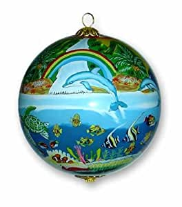 Hawaii Painted Glass Christmas Ornament Dolphins & Rainbows