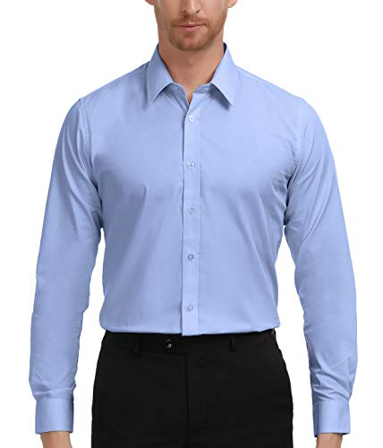 PAUL JONES Classic Blue Dress Shirt for Men Wedding Slim Fit Shirt (Blue, S) -