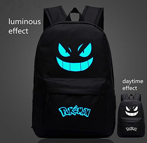 tongrou Noctilucence Pokemon GO Boy School Student Backpack Gengar Face Xmas Gift
