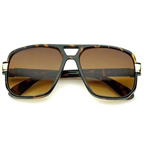 AStyles - Vintage Style Old School Clear Lens Square Aviator Run DMC Glasses (Brown-Sunglasses, - Glasses Dmc