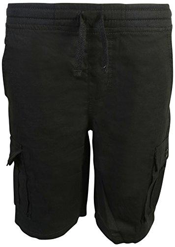 14' Dress Fashion Set (Quad Seven Boys Pull-On Ripstop Cargo Shorts, Black, Size 14')