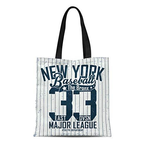 Bronx Shoe Canvas (Semtomn Canvas Tote Bag Sport-Shirt Creative Vintage Graphic Grange Stamp Baseball Emblem Sports Durable Reusable Shopping Shoulder Grocery Bag)