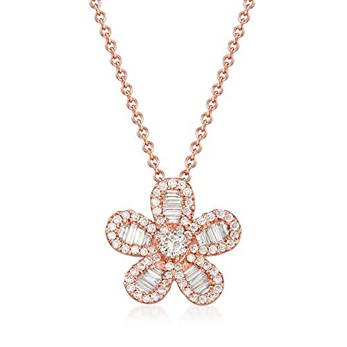 (Ross-Simons 0.61 ct. t.w. Diamond Flower Pendant Necklace in 18kt Rose Gold)