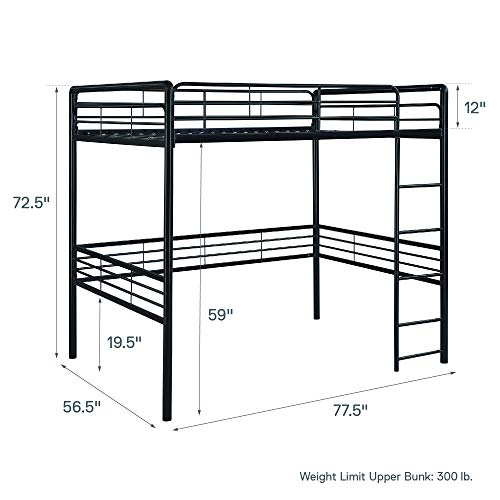 dhp full metal loft bed with ladder  space-saving design  black
