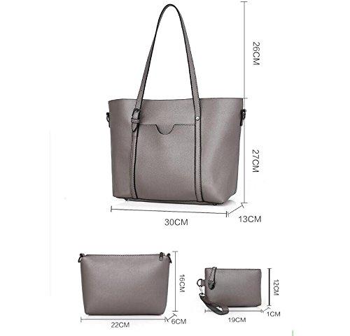 La De Tres Negro Todos Piezas Bun Personalidad Match Messenger Madre Bag Nueva Bolso Moda silvery Meaeo xq7afwAw