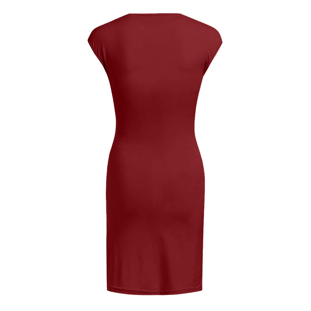 Maternity Dresses,Women Fashion Solid Color Sleeveless Maternity Pregnat Comfortable Midi Dresse Maternity Clothing for Women Dress Nursing Nightgown Best Maternity Clothes