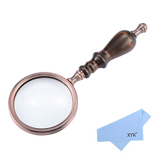 XYK 5X Handheld Antique Brass Magnifying Glass with Wooden Handle and Real Glass,Best Reading Magnifier for Science, Reading Book, Inspection, Coins, Insects, Rocks, Map, Crossword Puzzle