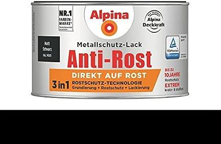 Alpina 300 Ml Metallschutz Lack 3in1 Direkt Auf Rost Ral 9005 Schwarz Matt Baumarkt
