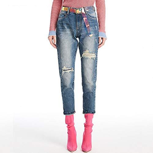 Pantaloni Piedi Buchi Xs Nove Deep Blue Jeans Donna Jeans Moda Mvguihzpo 1Bw066q
