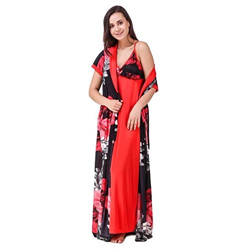 Nityakshi Women s Satin Red Sleep Nighty with Robe Set - Suitable for All  Seasons 2cf7789a9
