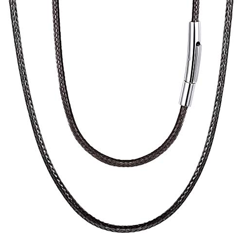FOCALOOK Cord Necklace with Durable Stainless Steel Snap Clasp, 22 Inch 2MM Black Men Women Leather Necklace DIY Jewelry Making Hypoallergenic Waterproof Braided Woven Wax Cord Rope Chain for Pendant
