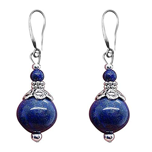 Double Lapis Lazuli Drop Earrings Natural Stone Round Bead Dangle Earrings for Women Fashion Jewelry Gift