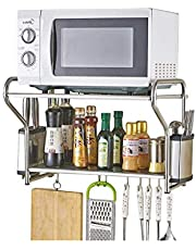 ZYL-YL Rack Stainless Steel Rack Microwave Oven Rack Wall Mount Grill Kitchen Utensils Oven 2 Floors Floor Storage Rack Cookware Storage (Color : Silver, Size : 58CM*36.5CM*38CM)