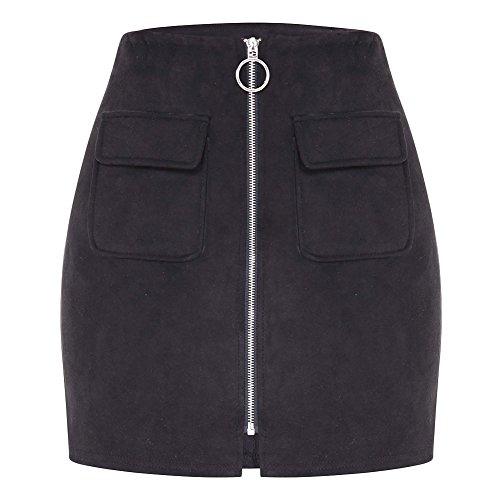 Aro Lora Women's Vintage Faux Suede High Waist Bodycon Short Plain A-line Mini Skirt Medium Black ()