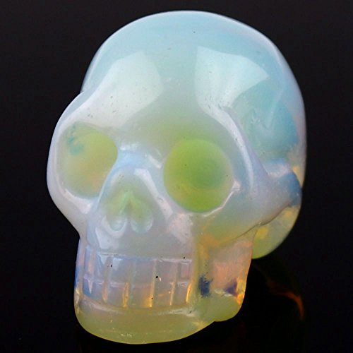 Hand Carved Gemstone Opalite Carving Skull Statue Figurine Collectible 1.9