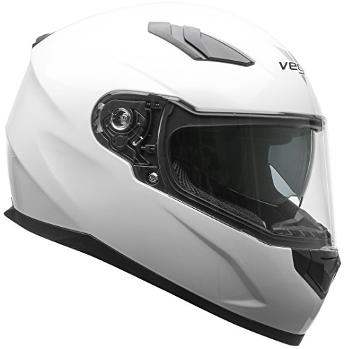 Vega Helmets 60000-155 RS1 Street Sunshield Motorcycle Helmet - DOT Certified Full Facerbike Helmet for Cruisers Sports Street Bike Scooter Touring Moped, Bluetooth Comp (Pearl White, X-Large)