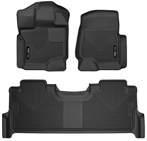 (Husky Liners X-act Contour Front & 2nd Seat Floor Liners Fits 2017-19 Ford F-250/F-350 Crew Cab w/ factory storage box)