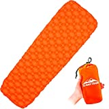 LIGHT TOUR Inflatable Sleeping Pad – Ultralight Sleeping Mat, Portable Air Mattress, Lightweight & Waterproof for Backpacking Hiking Camping Outdoor Travel - Orange