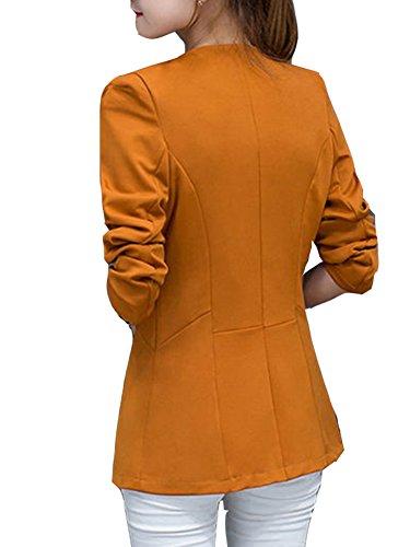 Jacket Blouse Longues Blazer Tailleur Slim Long Blazer Veste Manches Blazer Chameau OYB6Wqx