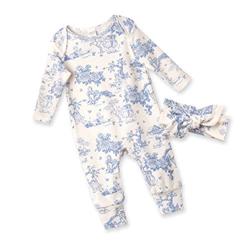 Tesa Babe Spring Floral Romper & Headband Set for Newborns, Baby Girls & Toddlers, Multi (Toile Du Jouy, 6-12 Months) (Toile Baby Girl)