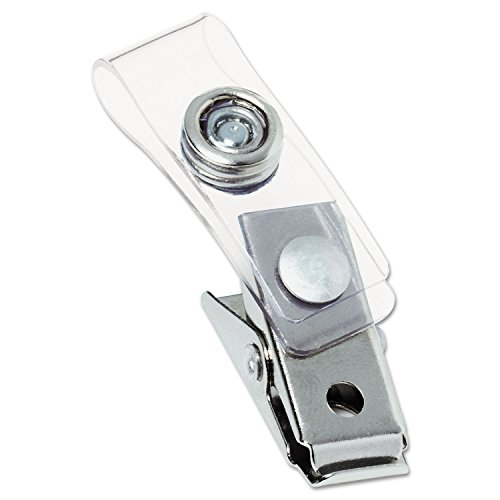 - GBC 1122897 Metal Badge Clips with Plastic Straps, Silver, 100/Box