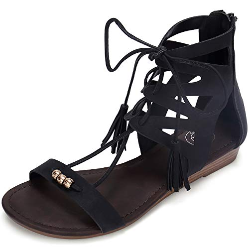 CAMEL CROWN Women's Gladiator Flat Sandals Open Toe Lace up Strappy Back Zipper Casual Outdoor Dress Shoes Colour Black Size 10