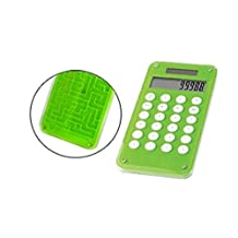 4.75 Inch Solar Power Memory Function Calculator with Maze Back, Green
