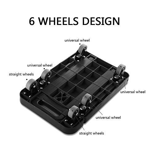 Foldable 6 Wheels Extendable Flat Luggage Cart Hand Trolley with 3-fold Handle black