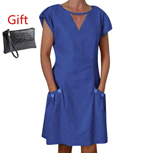 ✔ Hypothesis_X ☎ Women's Short Sleeve Button Mini Dresses Linen V Neck Mini Dress Evening Party Dress with Pocket Navy