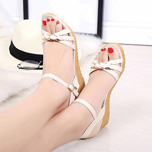 Saingace Frauen Mode Sommer Piste Mid Heel Sandalen Weiß