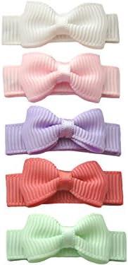 Baby Wisp Small Snap Tuxedo Grosgrain 5 pc Bow collection- Macaroon